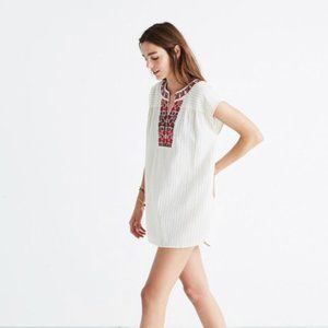 Madewell Belize Striped Embroidered Tunic Cover Up